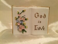 "Vintage Porcelain Open Bible Wall Pocket ""God Is Love"""