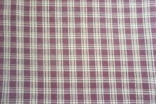 FALL TAN BURGUNDAY PLAID STRIPE LINEN LIKE COTTON FABRIC~SEW-RAG QUILT BLANKET