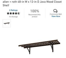 "New listing ) Allen + Roth Ventilated Shelf Kit Java 16"" x 48"""