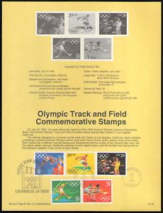 US. SP961. 2553-57. 29c. Summer Olympics. Souvenir Pages.1991