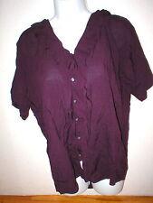 New Womens Express Top S Dark Purple Small Nice Work School Blouse SS Viscose