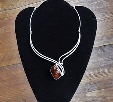 Boutique Collection Baltic Amber Pendant Handcrafted Silver 925 Bib Collar Piece