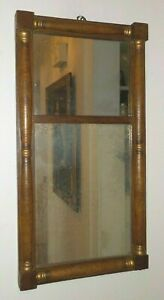 Antique FEDERAL Corner Block SPLIT BALUSTER Faux Wood Grain MIRROR c1840-50s