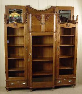 Antique Victorian Oak Three Door Bookcase