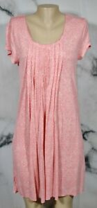 ELLEN TRACY Pink Ivory Patterned Gown Medium Short Sleeves Pleated Accent
