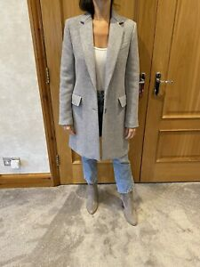 Zara Grey Wool Blend Tailored Coat/M