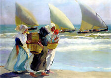 Art Oil painting young women by beach with waves Three Sails Hand painted