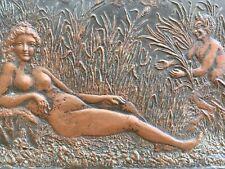 Plaque XIX De Cuivre Bas Relief Curiosité Faune Diable Femme Nue Érotique