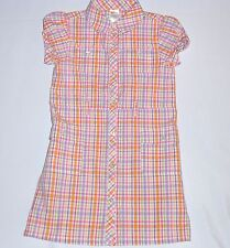 "Gymboree ""Butterfly Blossoms"" Button Front SS Plaid Shirt Dress, 7"