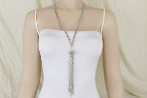 Women Silver Metal Chain Link Tassel Rhinestones Necklace Fashion Jewelry Fringe
