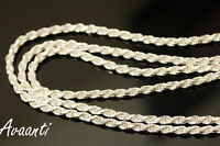 """Sterling Silver .925 Diamond Cut Rope Chain Necklace 2.5mm 20""""-24"""" Made in Italy"""