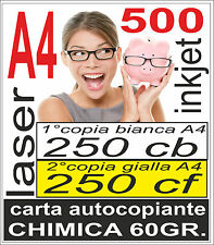 CARTA CHIMICA 500 A4 RICEVUTE PREVENTIVI 250x2 copie - stampante laser e inkjet