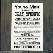 2 Original 1960s PABST VD QUACK MEDICINE RX Medical Cardboard Signs NOS