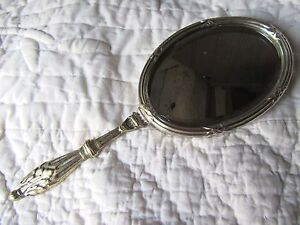 FRENCH ANTIQUE SILVER PLATED CLASSIC STYLE VANITY HAND MIRROR
