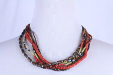 """Multi 6 Strand Brown Orange Wood Bead Unisex Hipster Necklace 19"""" Button Close"""