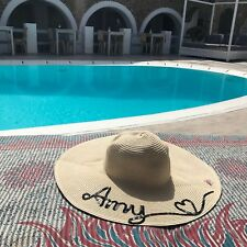 Personalised Wide Brim Floppy Straw Hat Holiday Hen Do Honeymoon Hen Weekend