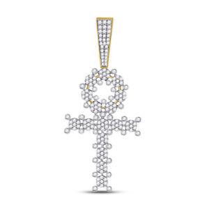 10kt Gelbgold Herren Rund Diamant Ankh Kreuz Anhänger 2.00 Cttw