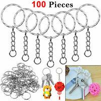 100pcs Silver Keyring Blanks Tone Key chains Key Split Rings 4 Link Chain