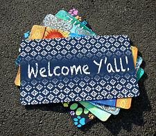 NEW Toland - Chalk Diamonds Welcome Blue - Y'all Decorative Door Standard Mat