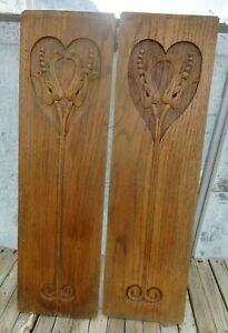Antique Art Nouveau pair of handcrafted wooden panels love heart design