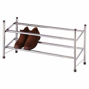 Chrome 2 Tier Shoe Rack Stackable & Extendable Expandable Organiser Shoes Tidy