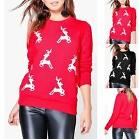 Mens Xmas Reindeer Crew Neck  Long Sleeve Sweater Chunky Christmas Knit Jumper