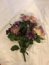 Artificial Floral Bouquet Small Purple, Cream and Pink