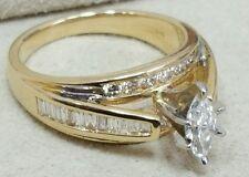 IGI Certified Marquise Engagement Ring 14K Yellow Gold Sz 7