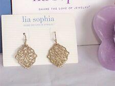 Beautiful Lia Sophia DIARY Earrings, Gold Toned, Open Filigree, NWT