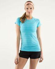 LULULEMON run swiftly short sleeve tech tee in spry blue twin stripe size 4