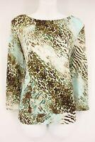 NEW INVESTMENTS Blouse Women's M Animal Print 3/4 Sleeve Shirt $49