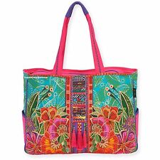 Laurel Burch Flora OVERSIZED Tote Travel Beach Cruise Sports Project Bag New