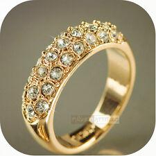 SZ8 Wedding 24k Yellow Gold Filled GF Women's Ring Celebrating Austrian Crystal