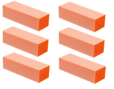12pc White Grit Orange Sanding 3-Way 80/80 Nail Buffer Blocks NEW