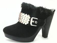 EUC $189 MICHAEL KORS Womens HEELS Clogs Mules SHOES Black Suede Fur US 7.5/39.5