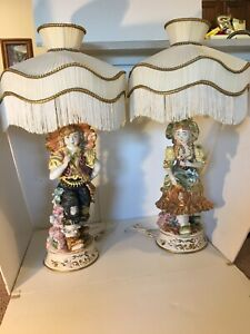 2 Capodimonte Vintage Figurine Lamps Girl and Boy in Great Condition - Italy
