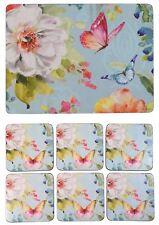 Ensemble de 6 fleur papillon bleu rose liège soutenu napperons et Dessous Verre