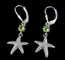GENUINE PERIDOT SILVER 925 HAWAIIAN SEASTAR STARFISH LEVERBACK EARRINGS RHODIUM