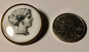 Antique 1700s Button Woman's White Ceramic Brass Back