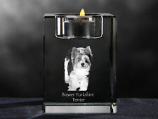 Biewer Yorkshire Terrier, crystal candlestick with dog, Crystal Animals Ca