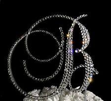 "Handmade Swarovski Clear Crystals 5""  Monogram Letter ""B"" Wedding Cake Topper"