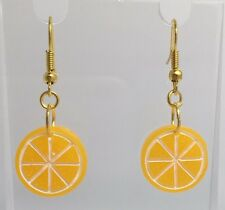 Orange Slice Fruit Earrings Kitch Hook Gold Coloured Wires Small G017