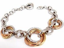 Rolling Rings 1.00ct round diamonds bracelet g.vs. 14kt multi-toned adjustable
