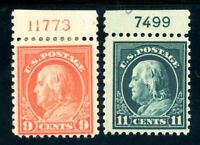 USAstamps Unused FVF US Series of 1917 Franklin Plate # Scott 509 MHR 511 OG MNH