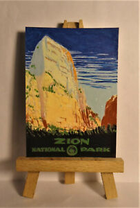 Zion National Park Poster ACEO Original PAINTING by Ray Dicken