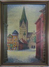 Gemälde Paderborn / Paderborner Dom - 1. Hälfte 20. Jh. Monogramm KH