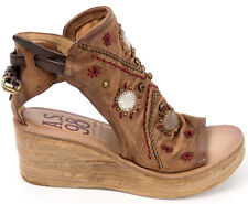 AIRSTEP A.S.98 Italy Sandalette 40 LEDER Schuh Cognac Braun Keil Plateau Top Neu