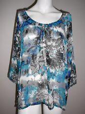 Millers Ladies Top Shirt Size 18 Boho 3/4 Sleeve Blue Green Black Sheer Summer