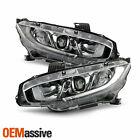 For 16-21 Honda Civic DX EX EX-L EX-T LX LX-P Halogen Projector Chrome Headlight