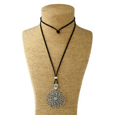 Large Statement Abstract Metal Flower Pendant on Long Suede Necklace Lagenlook